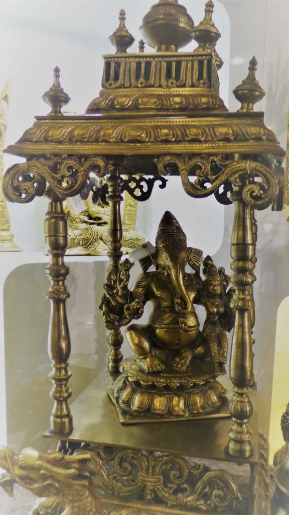 Ganesha in a brass Mandap