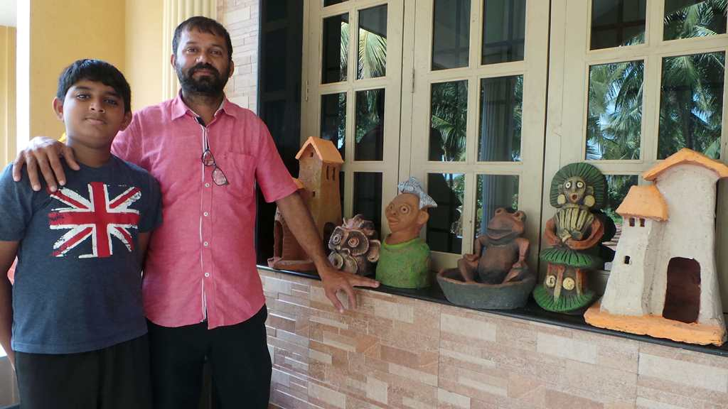 Terracotta Artist Venki Palimar with award winning student Laren Pinto