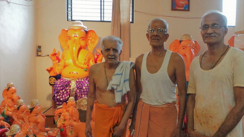 The three brothers. Ganapathi idols in clay at mangalore