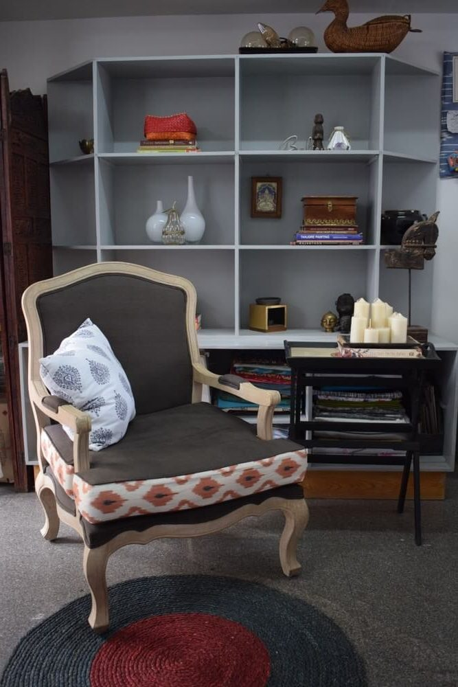 A comfortable winged chair