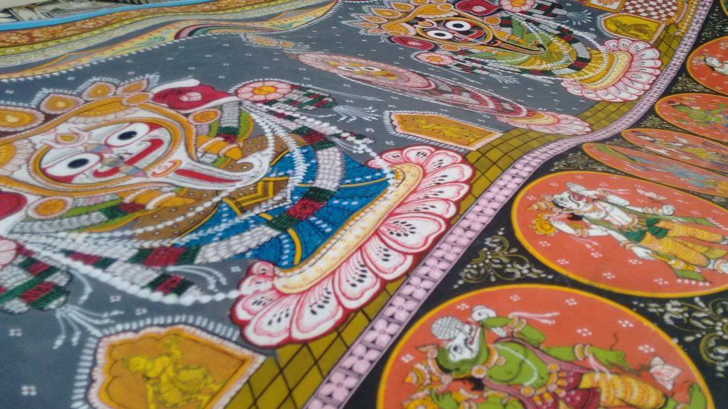 Lord Jagannath with Balram and Subhadra is the main theme. The Dashavataras .