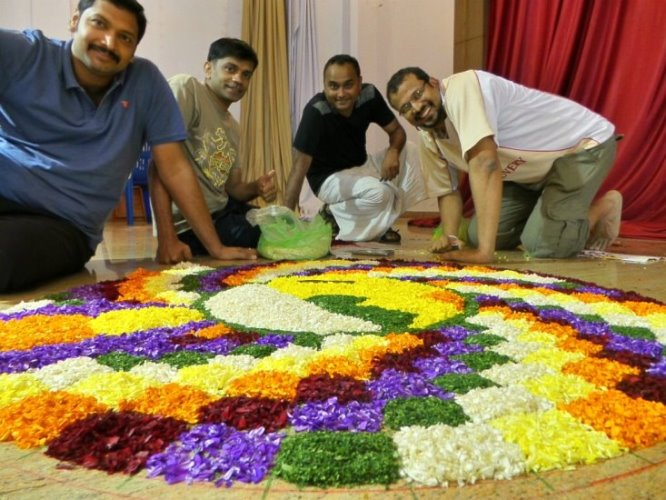 Pookkalam designs at onamotsav ECA Bangalore