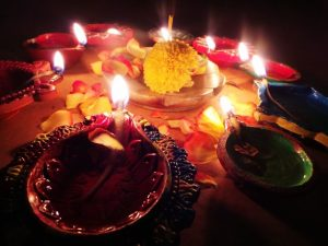 Diyas in different shapes and colours